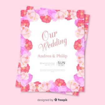 Modello di invito di nozze in stile floreale