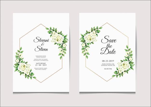 Modello di invito di nozze stile bianco e verde