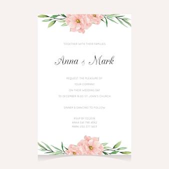 Modello di invito dipinto a mano con fiori rosa