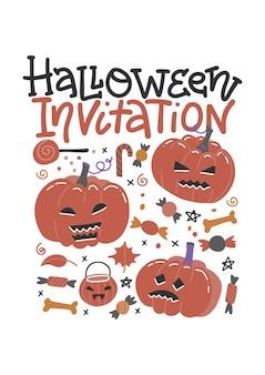 Modello di invito dolcetto o scherzetto di halloween. volantino di invito celebrazione vacanza ottobre