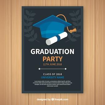 Modello di invito elegante festa di laurea con design piatto