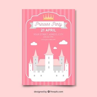 Modello di invito festa castello piatto principessa