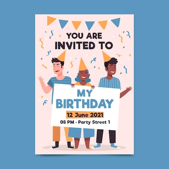 Modello di invito festa di compleanno illustrato