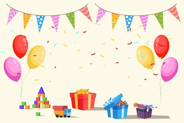Modello di invito festa di compleanno per bambini, giocattoli, regali, palloncini e bandiere