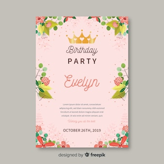 Modello di invito floreale colorato compleanno