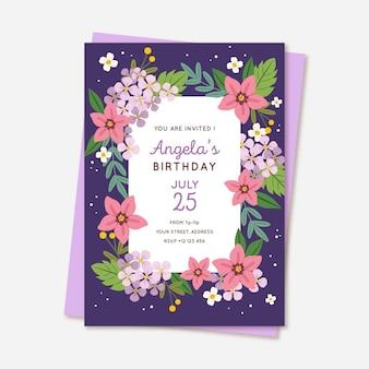 Modello di invito floreale compleanno