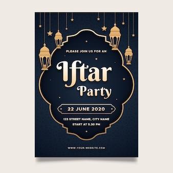 Modello di invito iftar design piatto