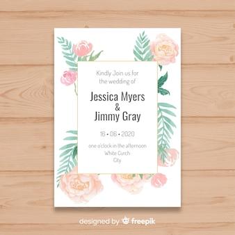 Modello di invito matrimonio bella con fiori di peonia