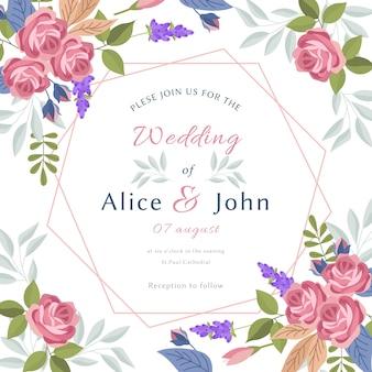 Modello di invito matrimonio colorato disegnato a mano