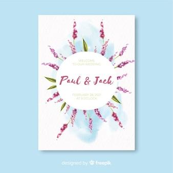 Modello di invito matrimonio floreale dell'acquerello colorato
