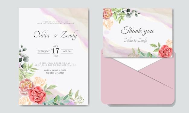Modello di invito matrimonio floreale di lusso e bellezza