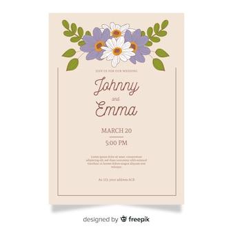 Modello di invito matrimonio floreale elegante