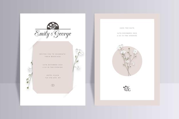 Modello di invito matrimonio floreale minimalista elegante