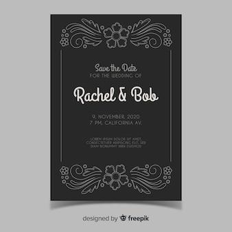 Modello di invito matrimonio ornamentale retrò