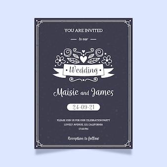 Modello di invito matrimonio retrò sulla lavagna