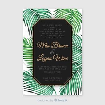 Modello di invito matrimonio tropicale dell'acquerello