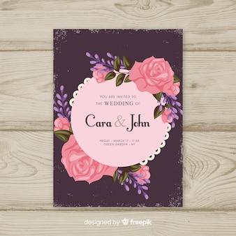 Modello di invito matrimonio vintage floreale