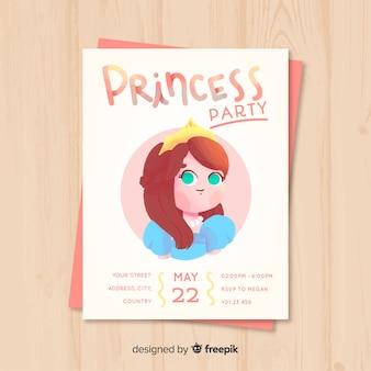 Modello di invito partito principessa disegnato a mano