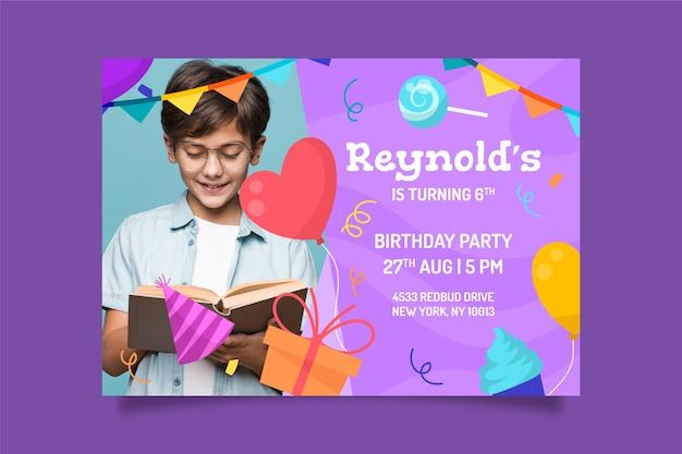 Modello di invito per una festa per bambini con foto