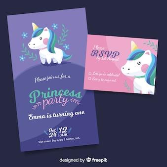 Modello di invito piatto principessa partito