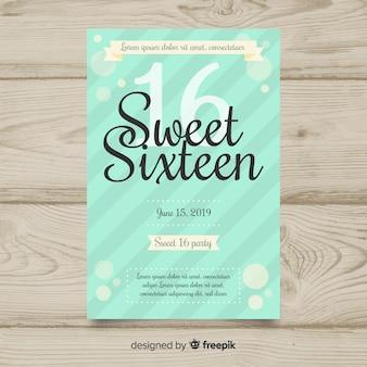 Modello di invito strisce diagonale compleanno sedici