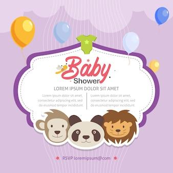 Modello di invito tema animale doccia bambino carino