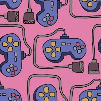 Modello di joystick. retro sfondo gamepad. ornamento di controller per videogiochi