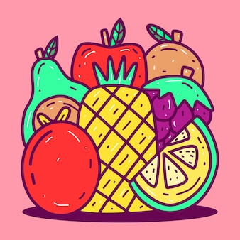 Modello di kawaii doodle fruit s