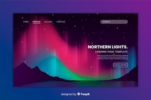 Modello di landing page colorato di aurora boreale