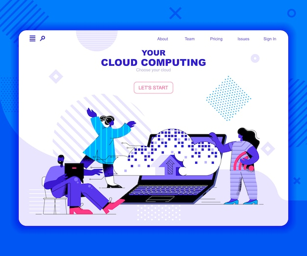 Modello di landing page del cloud computing