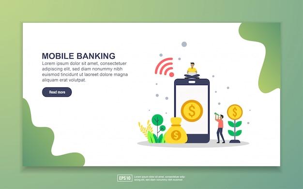 Modello di landing page del mobile banking. concetto di design moderno piatto di design della pagina web per sito web e sito web mobile