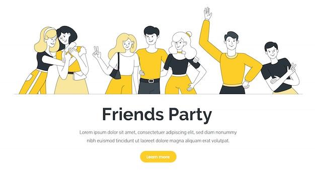 Modello di landing page del party degli amici