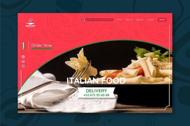 Modello di landing page del ristorante di cibo italiano
