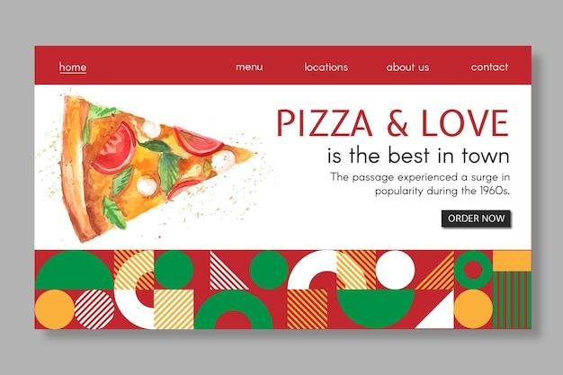 Modello di landing page del ristorante pizza