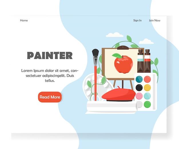 Modello di landing page del sito web di painter