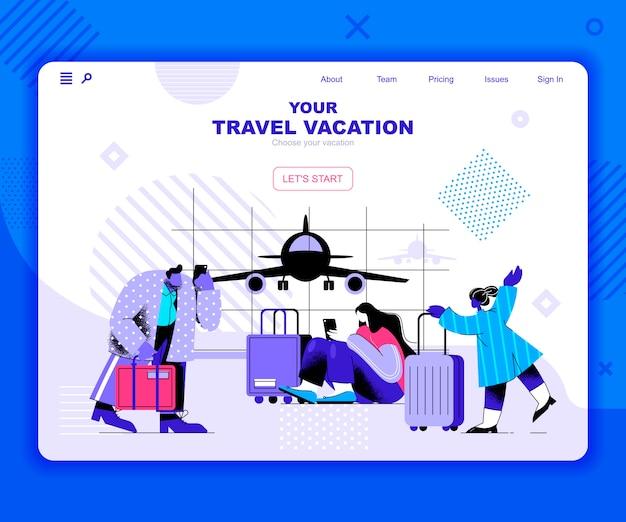 Modello di landing page delle vacanze di viaggio