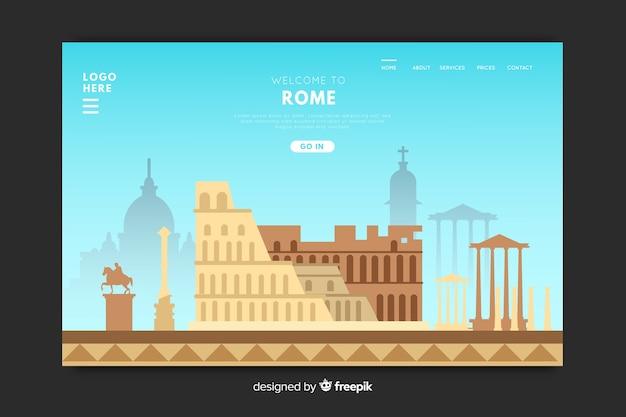 Modello di landing page design per paese