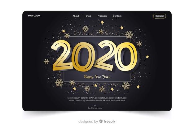 Modello di landing page design piatto nuovo anno