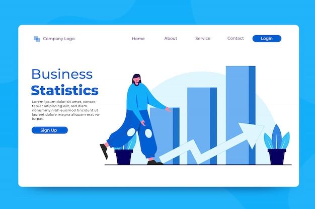 Modello di landing page di concetto di statistiche aziendali