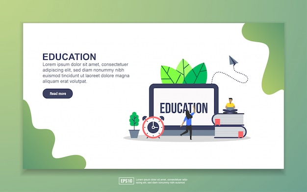 Modello di landing page di education