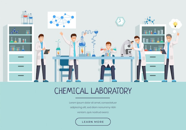 Modello di landing page di lavoratori chimici laboratorio