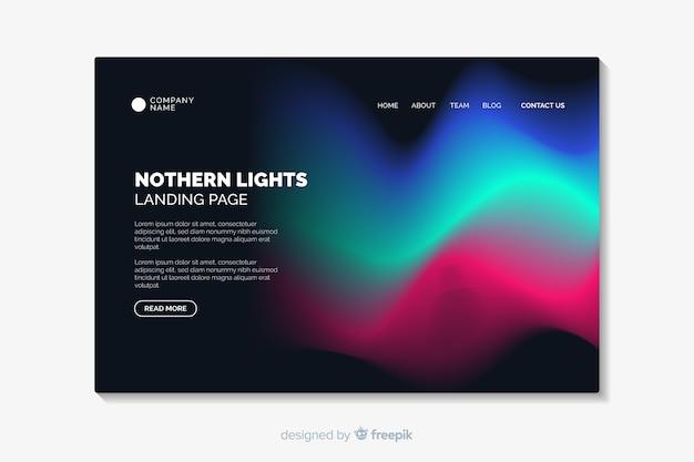 Modello di landing page di luci del nord
