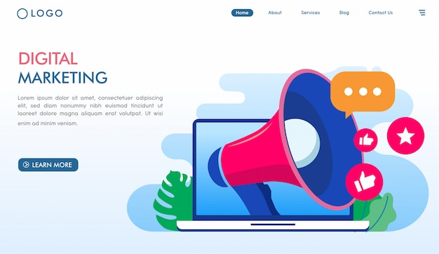 Modello di landing page di marketing digitale online