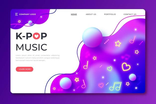 Modello di landing page di musica k-pop