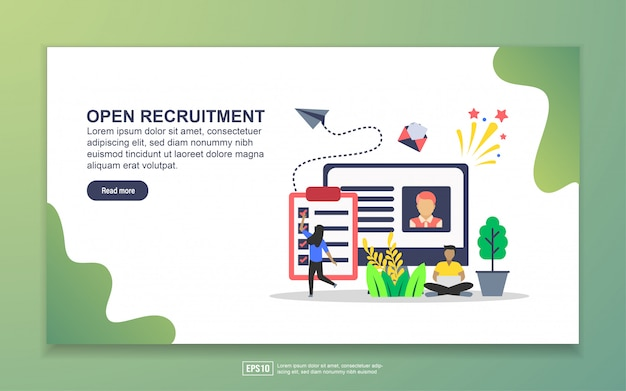 Modello di landing page di open recruitment