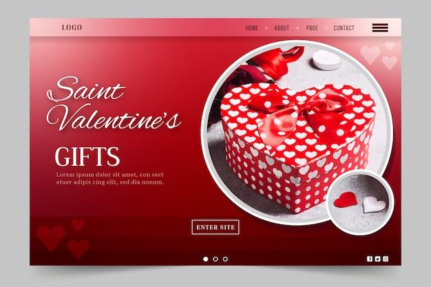 Modello di landing page di san valentino