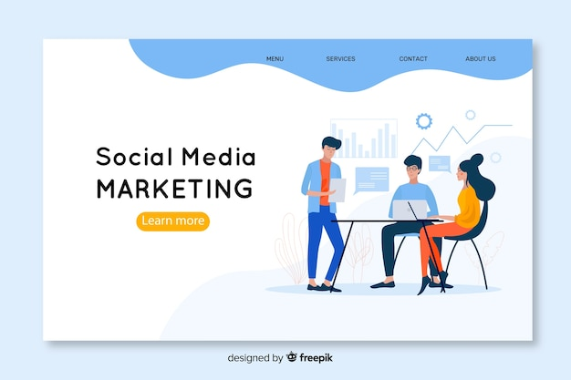 Modello di landing page di social media marketing