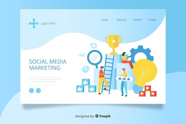 Modello di landing page di social media marketing