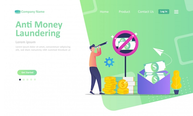 Modello di landing page di stop corruzione e affari illegali