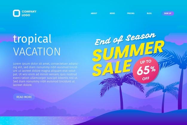 Modello di landing page di vendita estiva di fine stagione